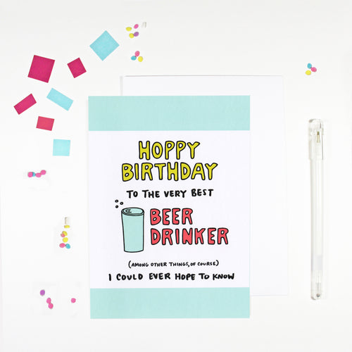 Hoppy Birthday Beer Drinker Birthday Card by Angela Chick