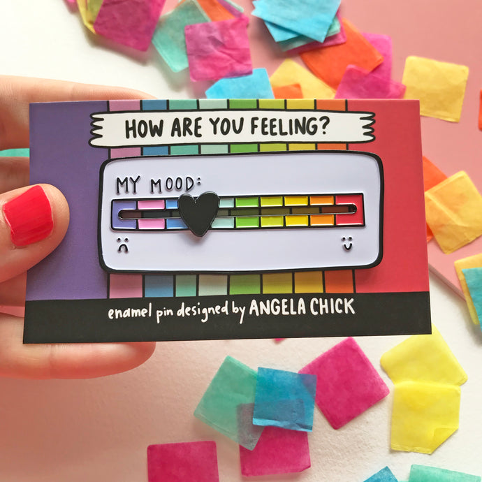 My Mood Rainbow Scale Pin with Moveable Heart by Angela Chick