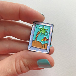 Happy Place Beach Lover Pin by Angela Chick