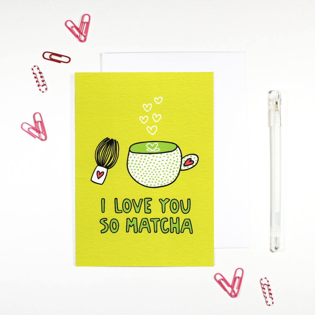 I Love You So Matcha Card for green tea lovers by Angela Chick