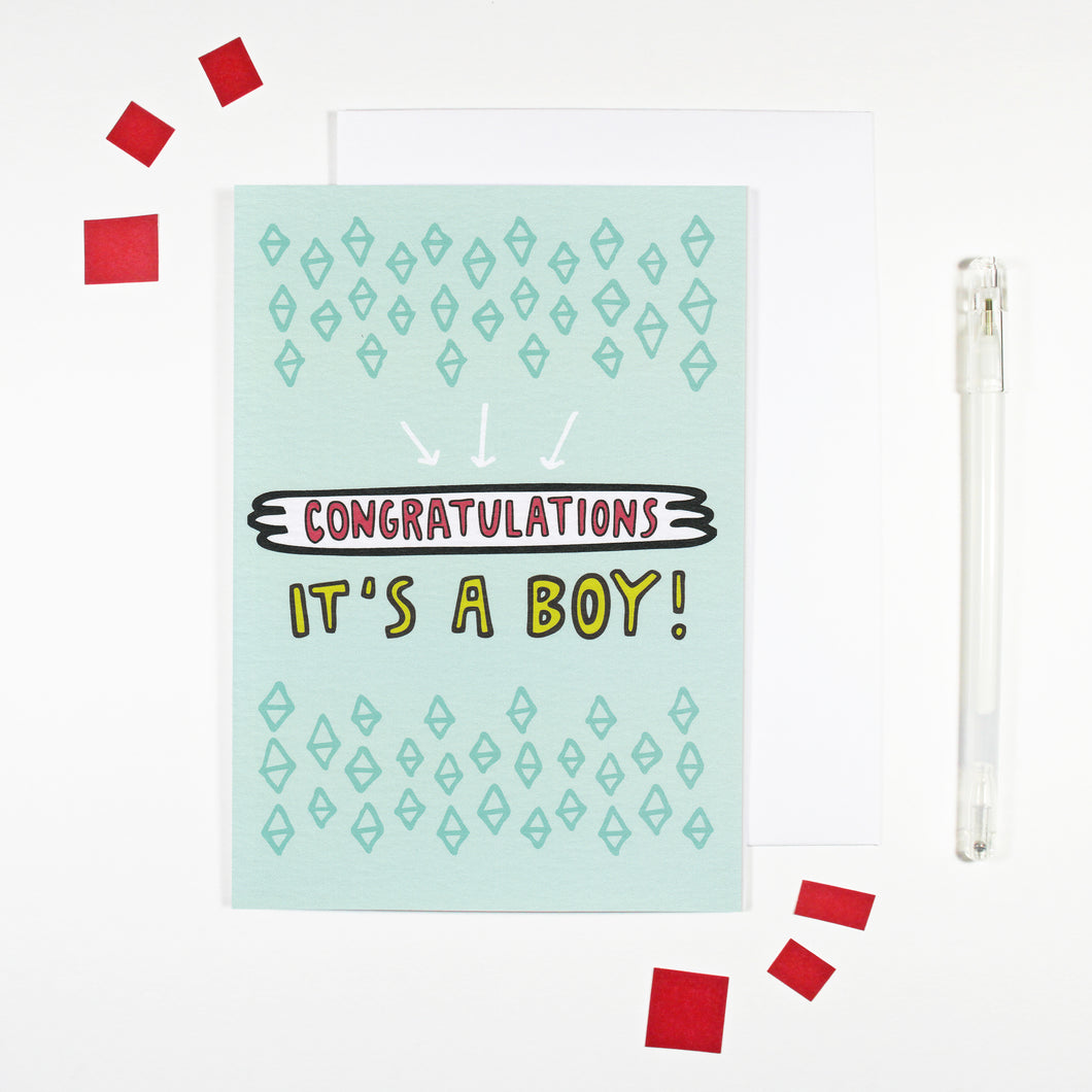 It's A Boy New Baby Boy Card by Angela Chick