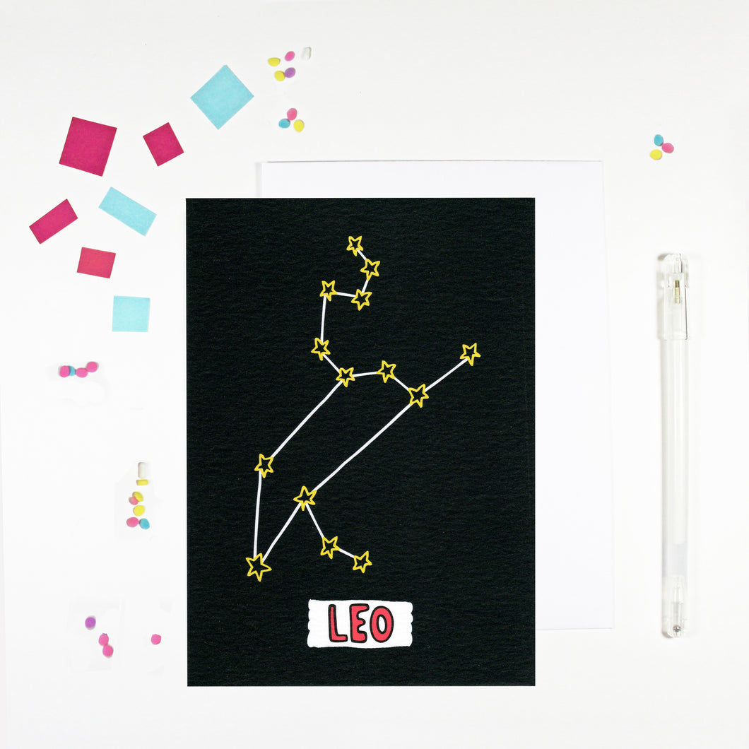 Leo Star Sign Birthday Card by Angela Chick