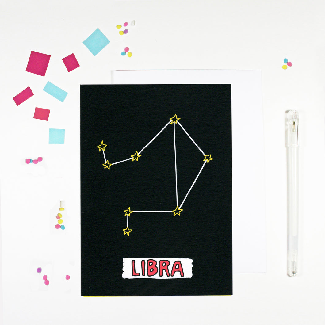 Libra Star Sign Birthday Card by Angela Chick