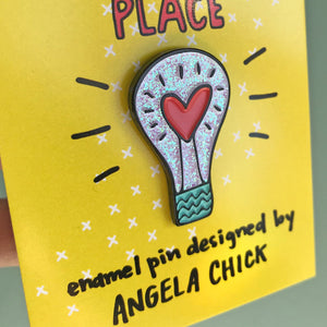 Iridescent Lightbulb Pin for friends by Angela Chick