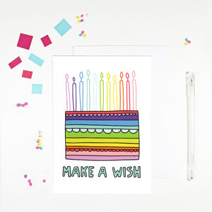 Make A Wish Rainbow Birthday Card by Angela Chick