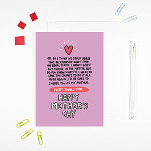 Mother I'd Choose You Mother's Day Card by Angela Chick