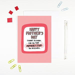 Motherly Stuff Funny Mother's Day Card