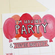 Pink Balloons Party Invitation