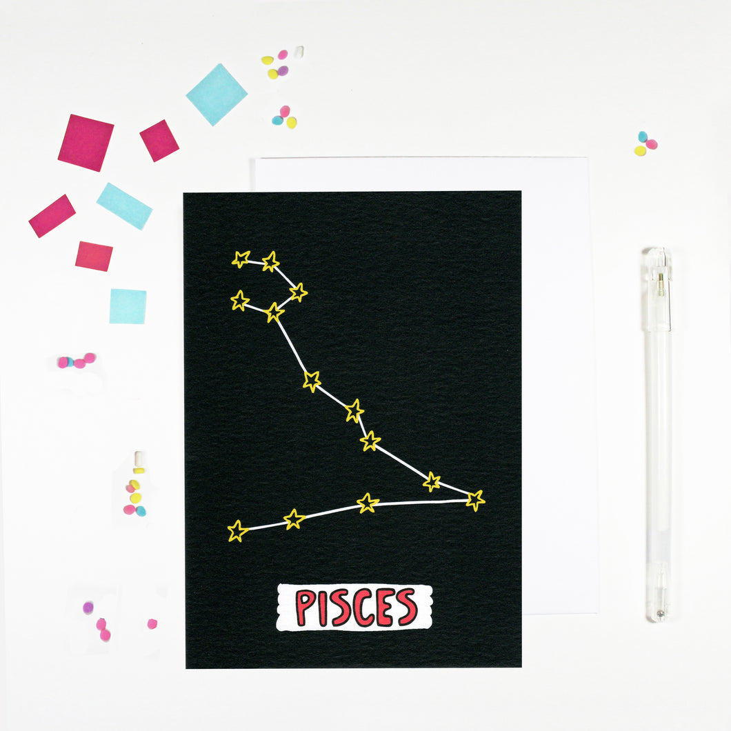 Pisces Star Sign Birthday Card by Angela Chick