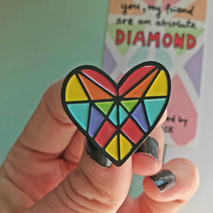 Rainbow Gem Heart Pin by Angela Chick