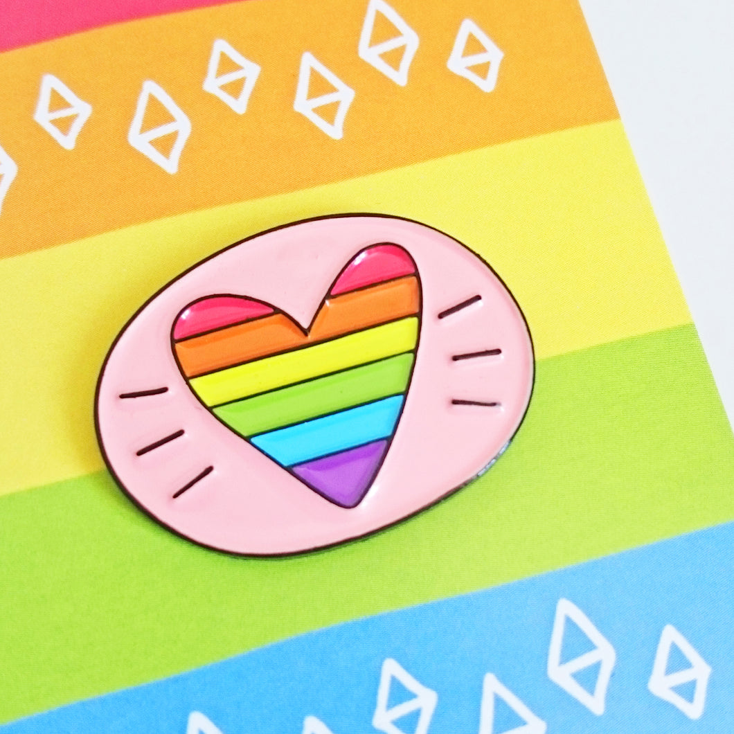 Rainbow Heart Gay Pride Enamel Pin by Angela Chick