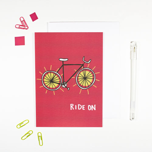 Ride On Bike Card for Cyclists by Angela Chick