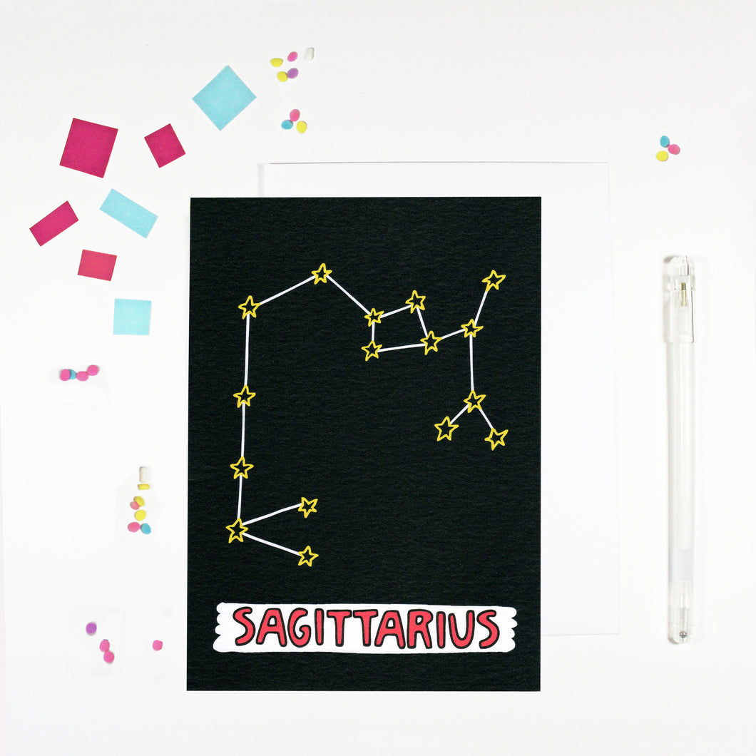 Sagittarius Star Sign Birthday Card by Angela Chick