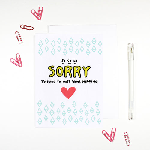 So Sorry To Miss Your Wedding RSVP Card by Angela Chick
