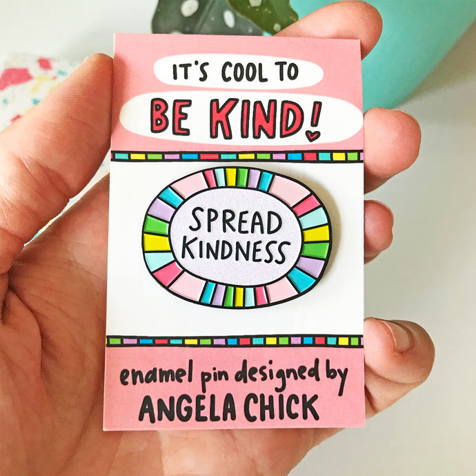 Spread Kindness Rainbow Pin by Angela Chick