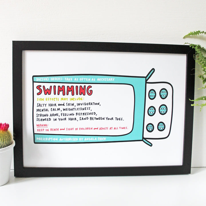 Wild Swimming Prescription Print for Wild Swimmers by Angela Chick