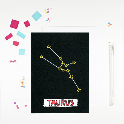 Taurus Star Sign Birthday Card by Angela Chick