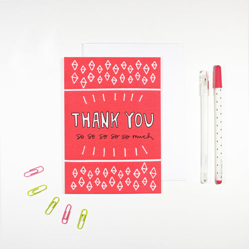 Pink Thank You Card by Angela Chick