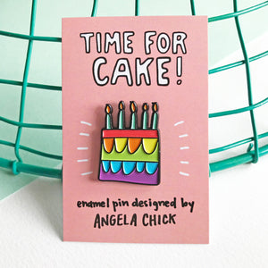 Time for Cake! Rainbow Birthday Cake Pin by Angela Chick