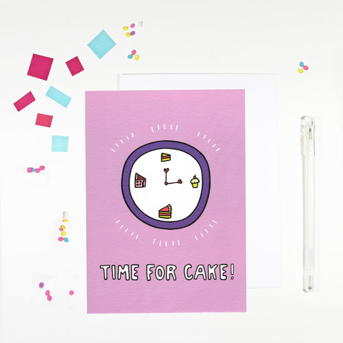 Time for Cake Birthday Card by Angela Chick