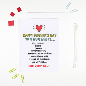 Happy Mother's Day To A Mum Who Is The Very Best Card by Angela Chick