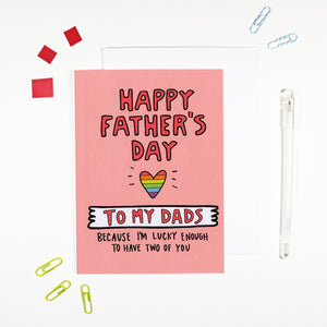 Happy Father's Day To My Dads Gay Father Card by Angela Chick