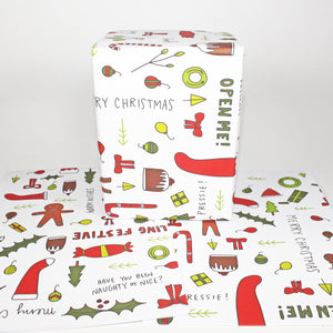White Christmas Gift Wrap by Angela Chick