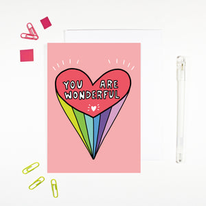 You Are Wonderful Heart Card by Angela Chick