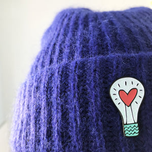 Lightbulb Pin on Hat by Angela Chick