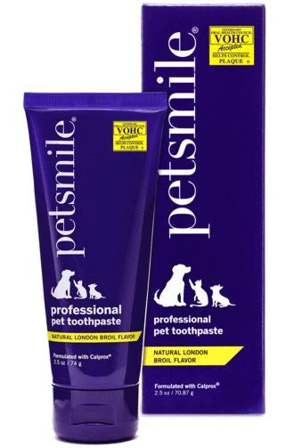Petsmile VOHC Approved Professional Pet Toothpaste - Natural London Broil Flavor - Small