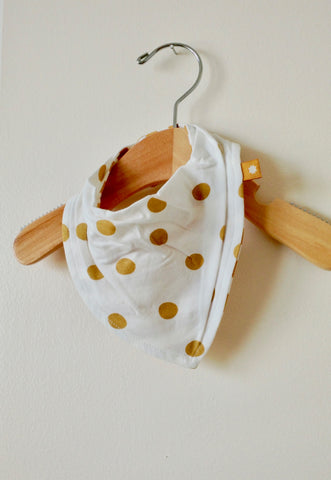 Reversible Bib - Gold Dot/Stripes