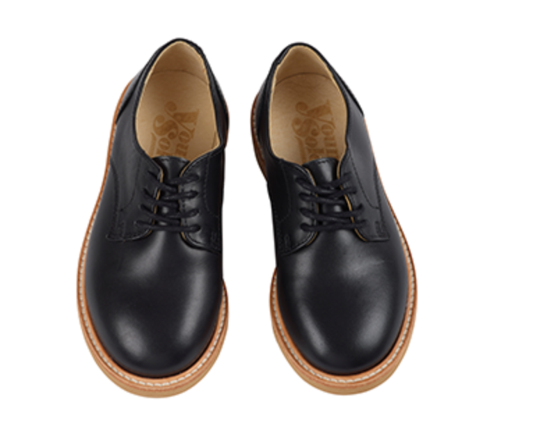 Reggie Black Leather Child Derby Shoe