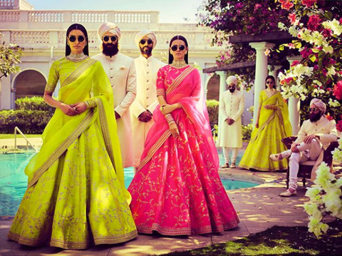 bright lehengas for summer
