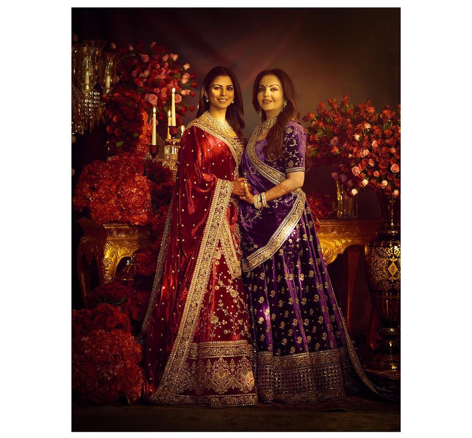 Ambani wedding velvet lehengas