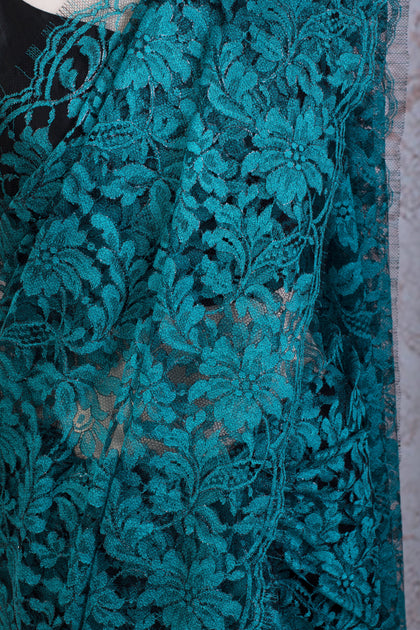 Turquoise Blue Chantilly Lace Shimmer Saree – Variety Silk ...