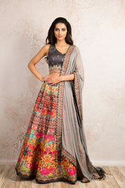 Printed choli & skirt R8_1503W - Variety Silk House Ltd