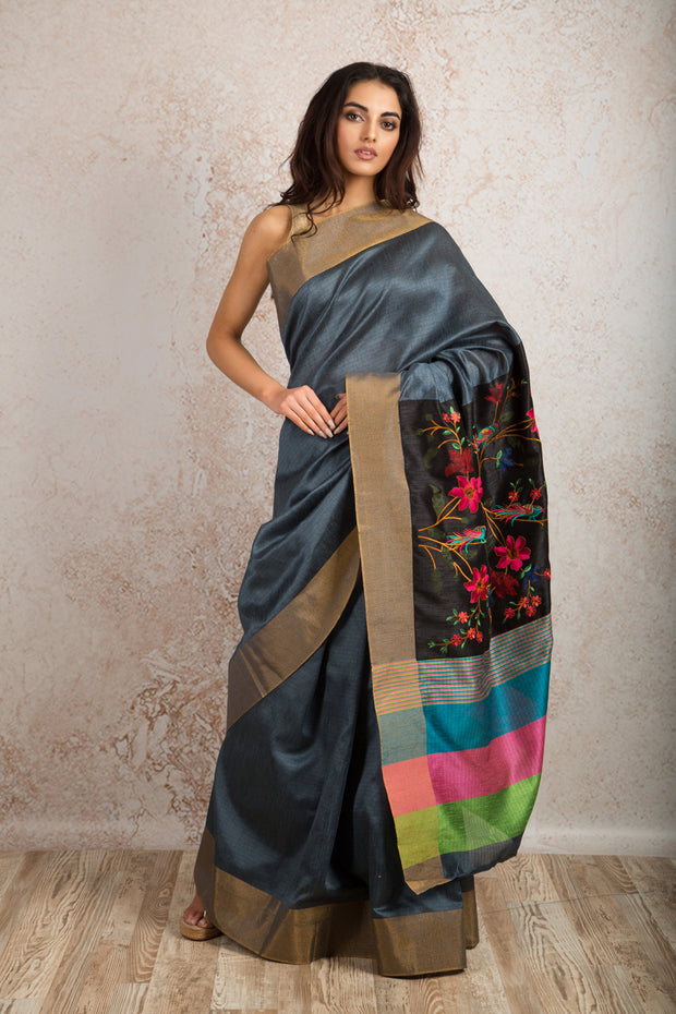 Tassar embd saree R8_309 - Variety Silk House Ltd