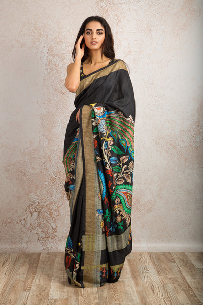 Peacock print saree R8_511B - Variety Silk House Ltd