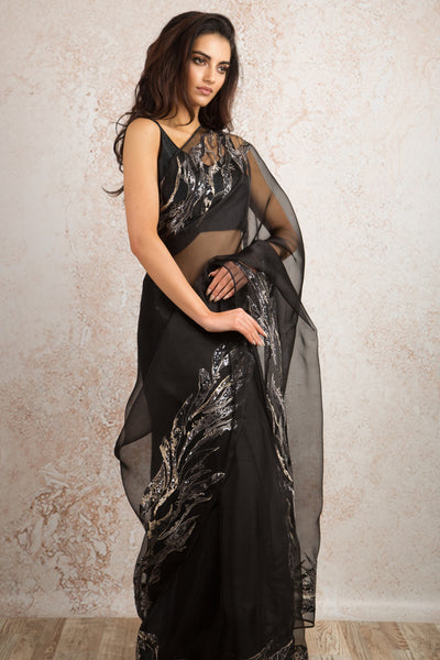 Organza embroidered saree T8_151 - Variety Silk House Ltd