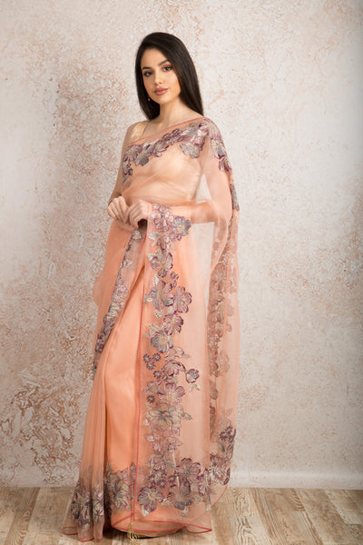 Organza embroidered saree T8_146 - Variety Silk House Ltd