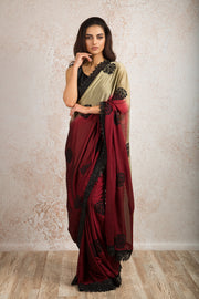 Lace embd border saree N8_409 - Variety Silk House Ltd