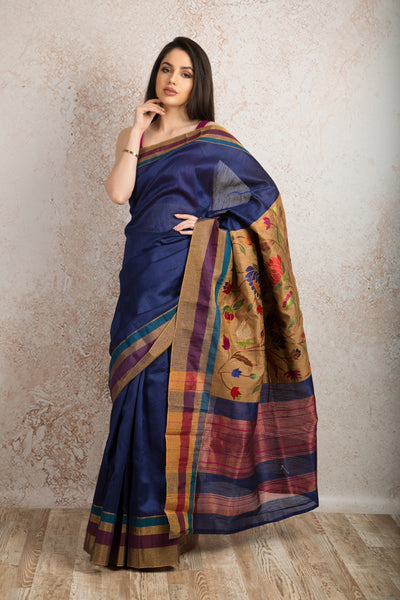 Tassar embd saree R8_309A - Variety Silk House Ltd