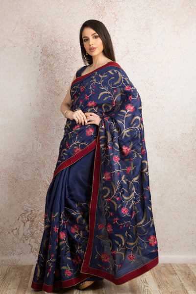 Floral embd saree R8_208 - Variety Silk House Ltd