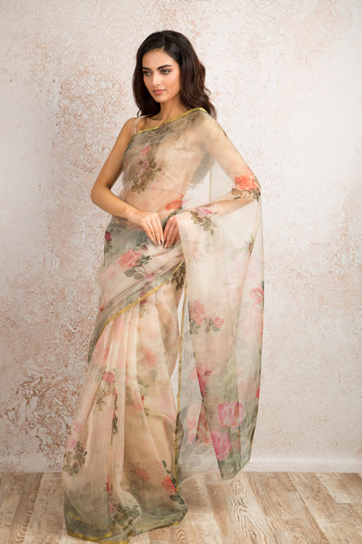 Organza print saree R8_303B - Variety Silk House Ltd
