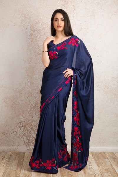 Satin embroidered saree R8_306B - Variety Silk House Ltd