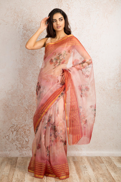Organza print saree R8_303E - Variety Silk House Ltd