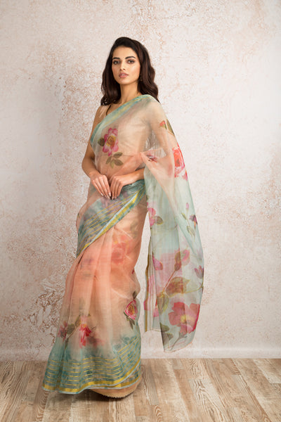 Organza print saree R8_303D - Variety Silk House Ltd