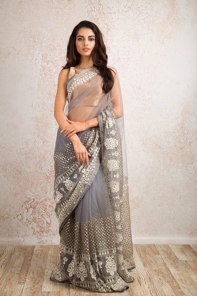 Net embroidered saree R8_305D - Variety Silk House Ltd