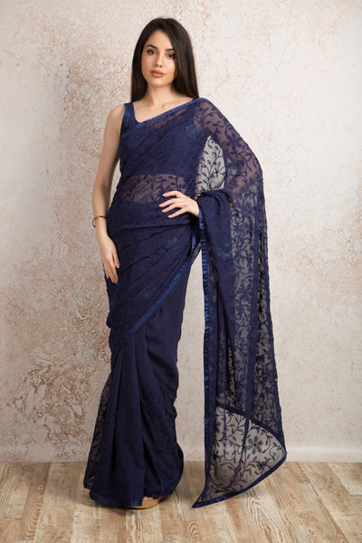 Reshamwork saree R8_305B - Variety Silk House Ltd