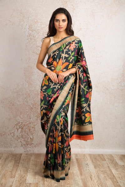 Floral print saree R8_511D - Variety Silk House Ltd